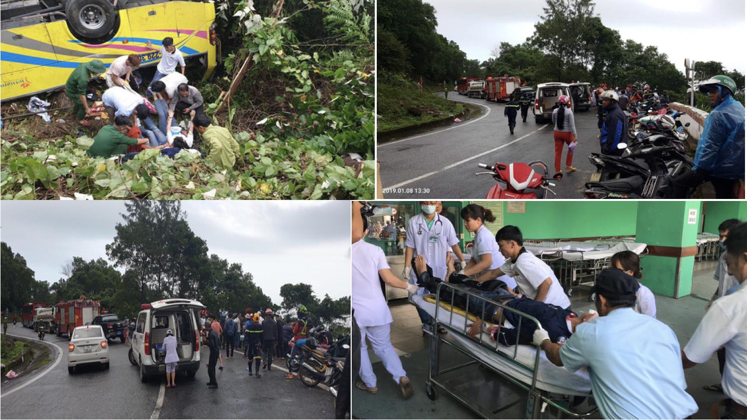 Xe chở sinh viên, giáo viên gặp nạn ở đèo Hải Vân, 1 người chết