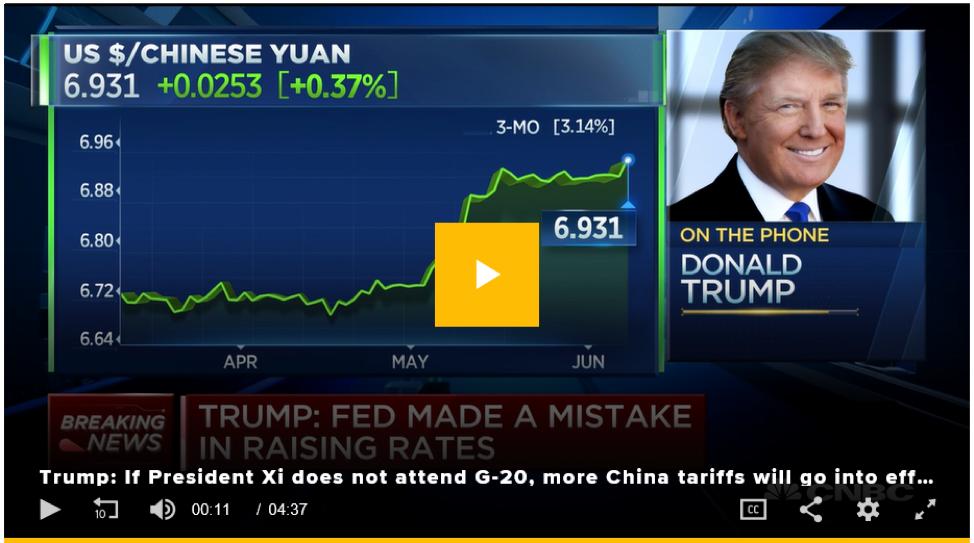 Nhiều mức thuế sẽ áp cho Trung Quốc ngay lập tức nếu ông Tập không tham dự G-20